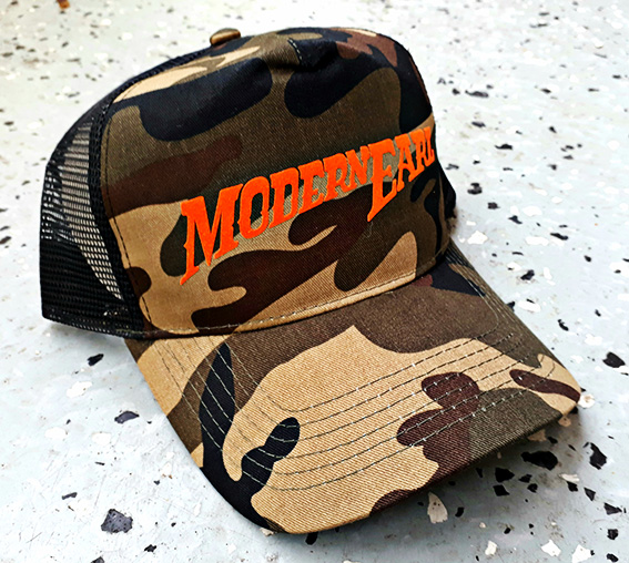 camo/orange, half mesh - Modern Earl- Trucker hat
